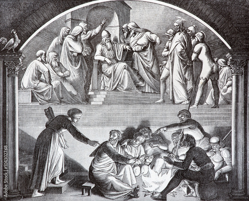 Jesus Before Caiaphas and betrayal of Peter lithography Fototapet
