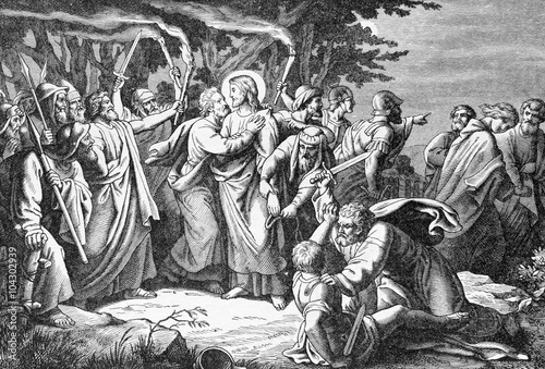 Canvas-taulu The arresting of Jesus in Gethsemane garden lithography