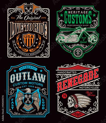 Photo Vintage motorcycle t-shirt graphic set