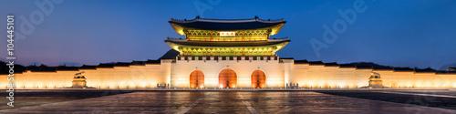 Photo Gyeongbokgung Palast in Seoul Korea als Panorama bei Nacht