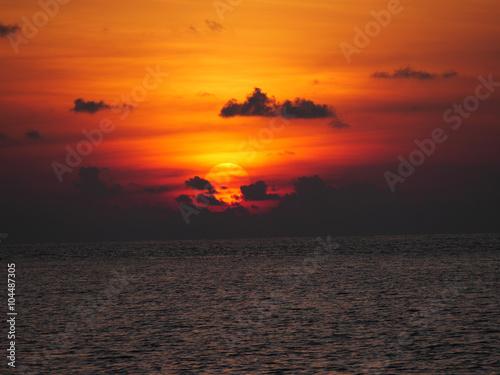 Obraz na plátně Sunset Maledivy