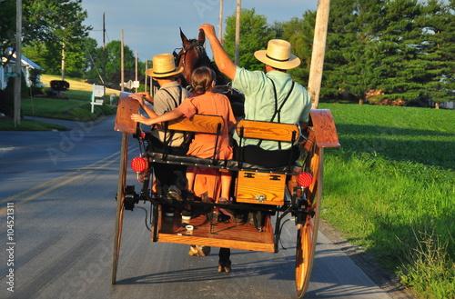 Carta da parati Lancaster County, Pennsylvania:  An Amish family riding along a country road in