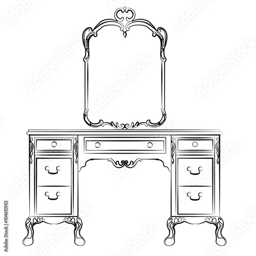 Leinwand Poster Dressing table with mirror in classic baroque style
