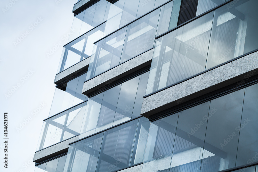 Abstract fragment of modern architecture, blue tone