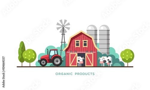 Tableau sur Toile Farming background with barn, windmill, tractor and cows