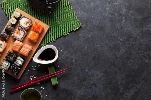 Set of sushi maki and green tea