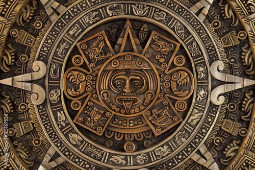Stampa su Tela Close view of the aztec calendar
