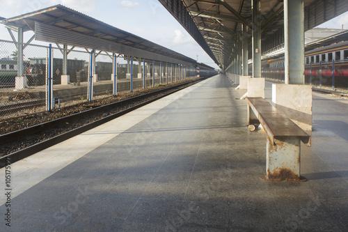 empty platform at public train station in evening