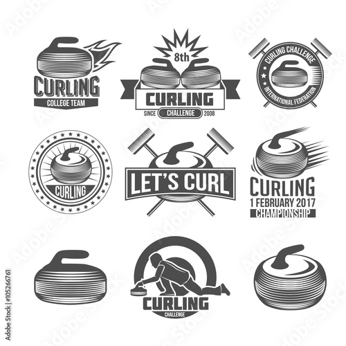 Valokuvatapetti Curling sport badges set