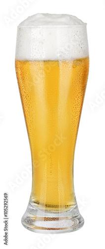 Fotografia, Obraz Glass of beer on white
