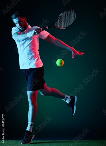 Canvas Print tennis player man isolated