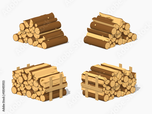 Canvas-taulu Firewood stacked in piles