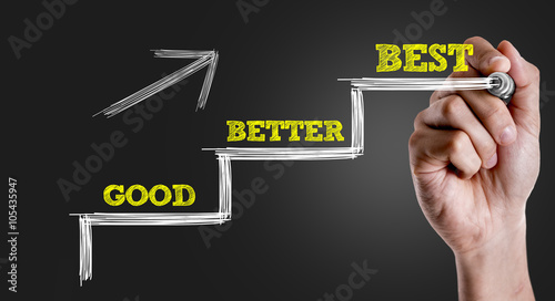 Photo Hand writing the text: Good - Better - Best