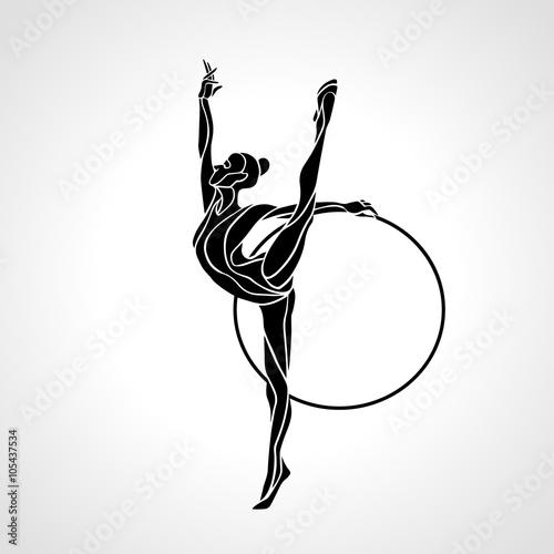 Fototapeta Moderní gymnastika s Hoop silueta na bílém pozadí