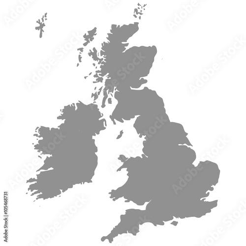 Leinwand Poster Die Großbritannien-Karte in Grau auf weißem Hintergrund