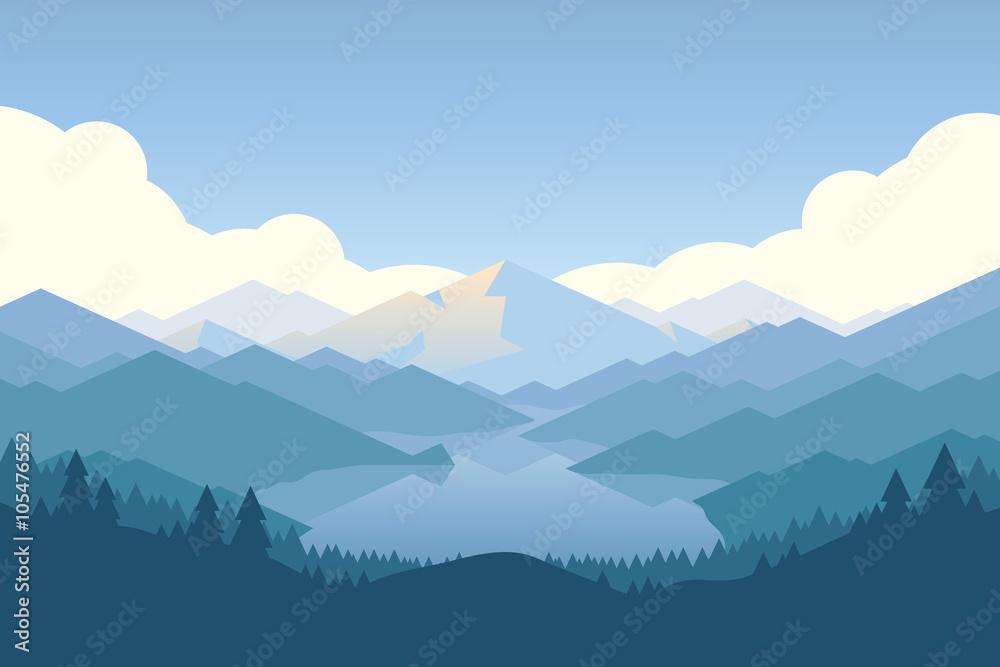 Fototapeta Wektorowy góry i forrest krajobraz w świetle d