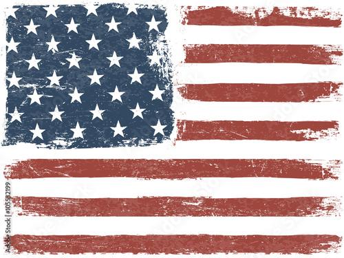 Valokuvatapetti American Flag Grunge Background. Vector Template. Horizontal ori