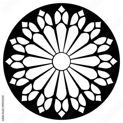 Gothic rosette window pattern, vector illustration Fototapeta