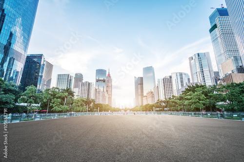 Vászonkép empty asphalt road and modern buildings in guangzhou