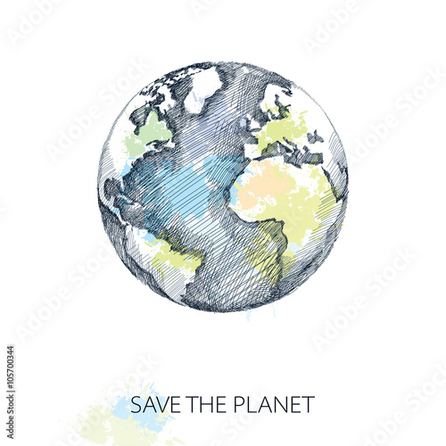 Canvas Print Vector sketch of earth planet in black isolated on white background with pastel blots