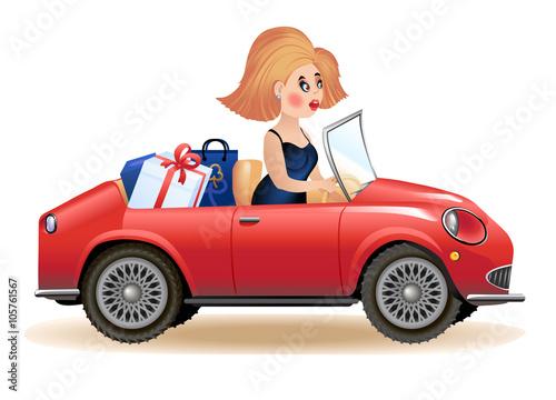 Canvas Print Surprised woman driving car