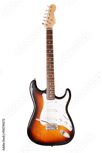 Photo Electric guitar on a white background close up.