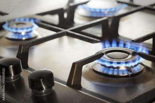 Slika na platnu kitchen gas cooker with burning fire propane gas