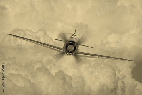 Wallpaper Mural 'Vintage style' image of World War 2 era fighter plane known as 'Geroge' by the allies