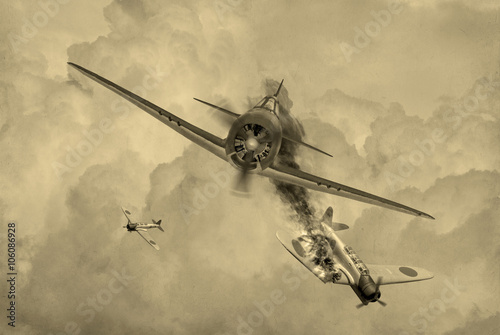 Photo 'Vintage Style' image of a World War 2 US fighter plane shooting down Japanese torpedeo bomber over Saipan