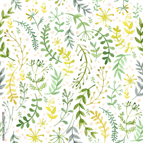 Pattern of flowers painted in watercolor on white paper. Sketch of flowers and herbs. Wreath, garland of flowers.