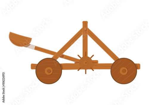 Photo old medieval wooden catapult shooting stones vector illustration