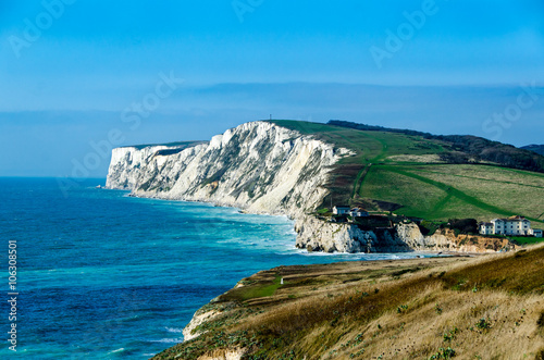 Canvas Print Freshwater Bay and Tennyson Down on the Isle of Wight, UK