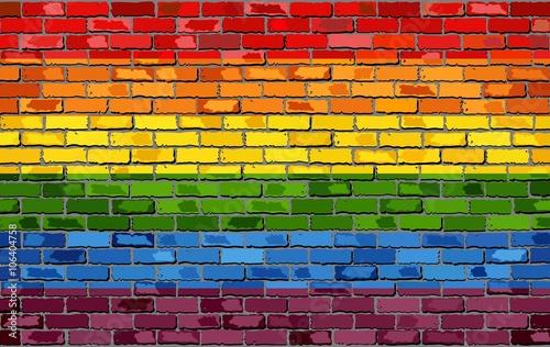 Gay pride flag on a brick wall - Illustration,   Rainbow flag on brick textured Fototapeta