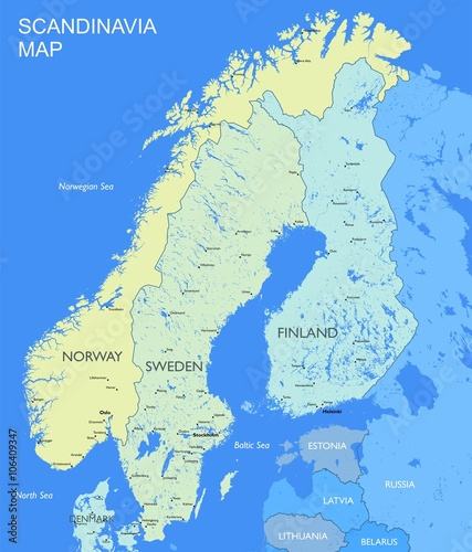 Photo Detailed Scandinavia map Vector political Scandinavia countries map