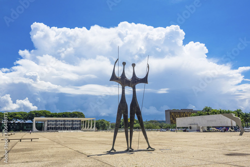 Three Powers Square with Dois Candangos monument in Brasilia, Brazil.