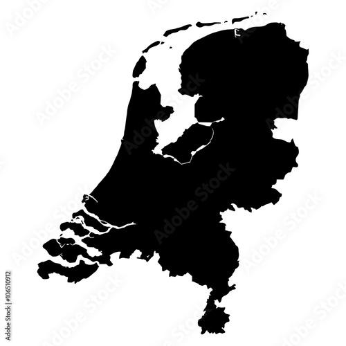 Wallpaper Mural Netherlands black map on white background vector