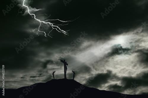 Photo Crucifixion of Jesus on Golgotha With Darkened Sky and Lightning Effect