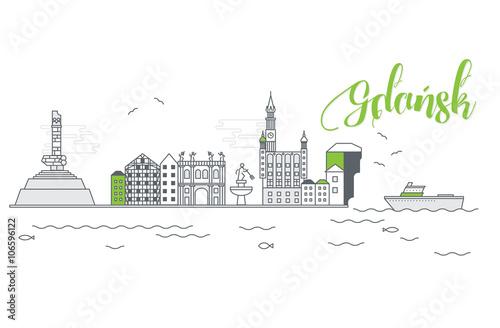 Obraz na płótnie Panorama miasta Gdańsk