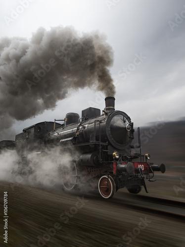 Carta da parati Vintage black steam train
