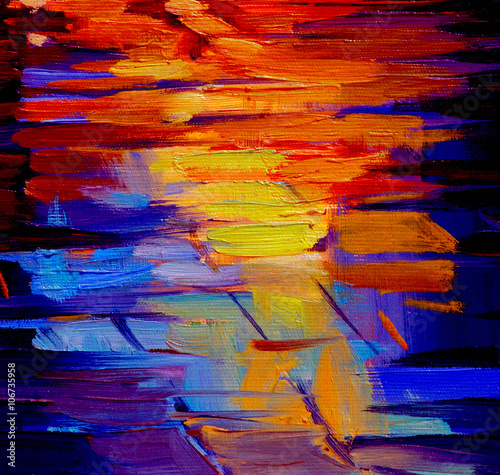 reflection of light on a roadway during a rain, abstract paintin