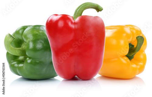 Slika na platnu Paprika rot gelb grün bunt Paprikas Gemüse Freisteller freiges