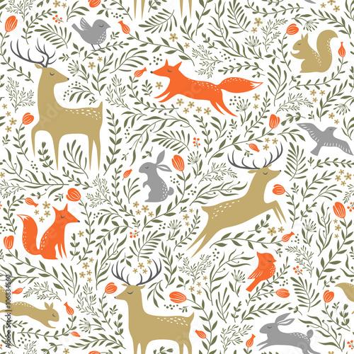 Wallpaper Mural Summer woodland pattern
