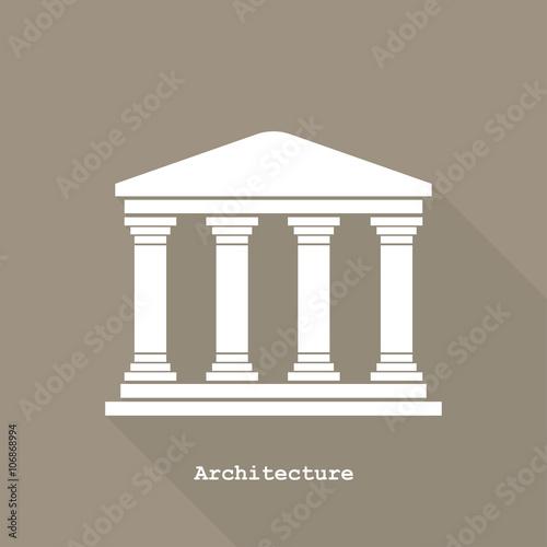 Photo Greek temple icon vector illustration flat design