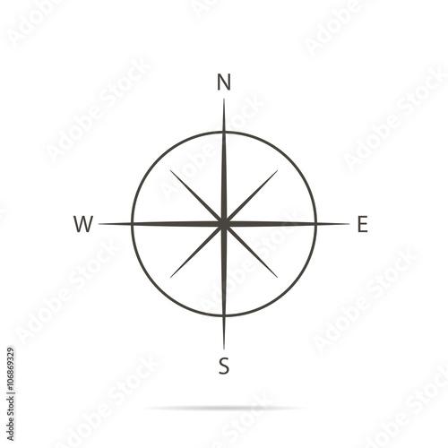Fotografie, Obraz Icon compass on white background and flat design