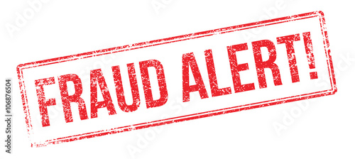 Foto Fraud Alert red rubber stamp on white