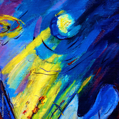 abstract painting by oil on canvas on a space theme, illustratio