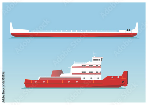 Tugboat and barge Fototapete