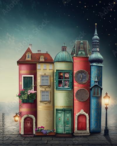 Fototapeta Magic city with books