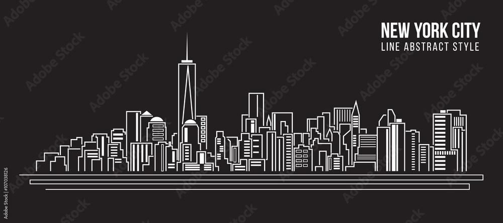 Pejzażu miejskiego budynku Kreskowej sztuki Wektorowy Ilustracyjny projekt - nowy York miasto <span>plik: #107038126   autor: ananaline</span>