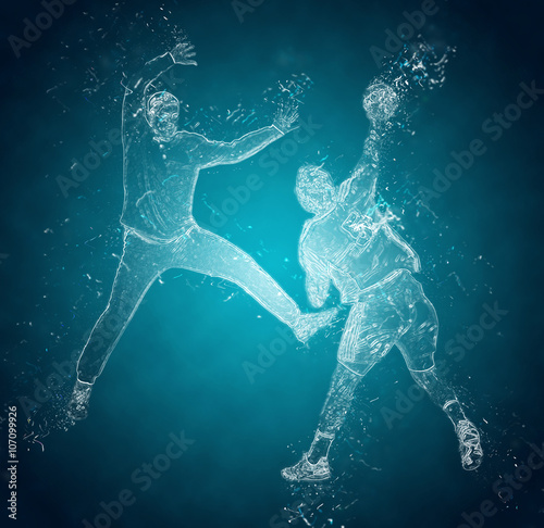 Obraz na plátne Abstract handball players in action. Crystal ice effect